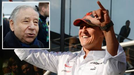Jean Todt (inset) gave an update on Michael Schumacher's fight for health