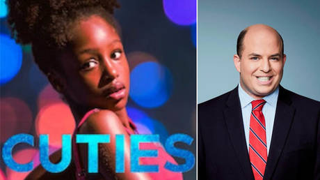"Brian Stelter (R) became the second CNN host in four days to forego asking Netflix's CEO any questions about the controversial movie ""Cuties"" (L). © Netflix; CNN"