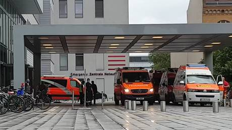 Ambulances at the Charite clinic in Berlin, where the politician Alexey Navalny was taken.
