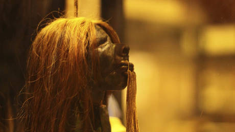 Shrunken head from the Shuar people, on display in the Pitt Rivers Museum, Oxford