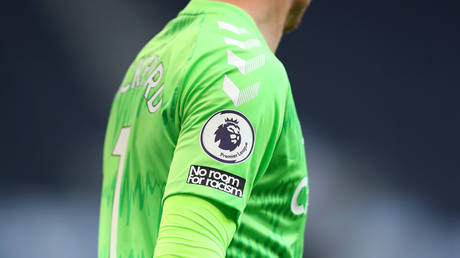 No Room for Racism slogan is seen on the sleeve of Jordan Pickford of Everton shirt during the Premier League match between Tottenham Hotspur and Everton at Tottenham Hotspur Stadium on September 13, 2020 in London, England