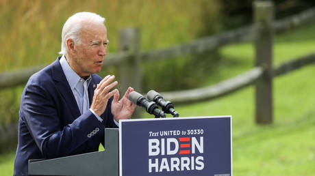 Democrat presidential nominee Joe Biden speaks about climate change at the Museum of Natural History in Wilmington, Delaware, September 14, 2020.