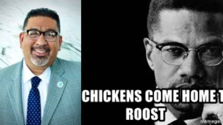Lynwood City Manager Jose Ometeotl (L) evoked backlash by applying a Malcolm X quote (R) to Saturday's ambush-style shooting of two Los Angeles County deputies.