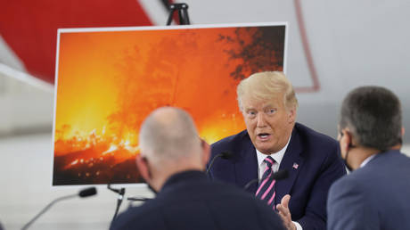 US President Donald Trump holds a wildfire roundtable with California officials north of Sacramento, September 14, 2020.