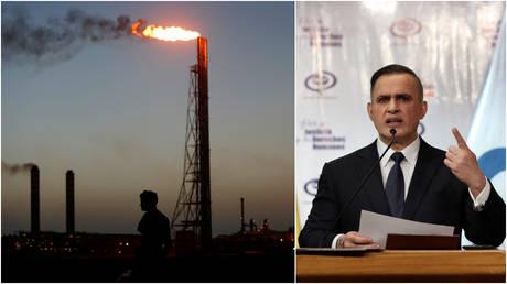 FILE PHOTOS: (L) A man stands close to the Cardon refinery, in Punto Fijo, Venezuela; (R) Venezuela's chief prosecutor Tarek William Saab.