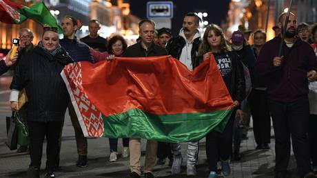 Participants of the rally of supporters of President of Belarus Alexander Lukashenko in Minsk.