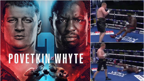 Alexander Povetkin knocked out Dillian Whyte cold during their fight in August - World of Boxing (left); Twitter / Dazn (right)
