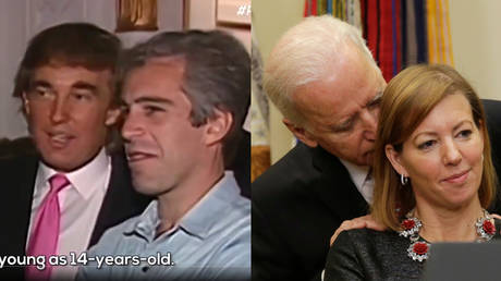 (L) MeidasTouch clip showing Donald Trump and Jeffrey Epstein, undated (R) US VP Joe Biden talks with wife of Defense Secretary Ash Carter, February 17, 2015.