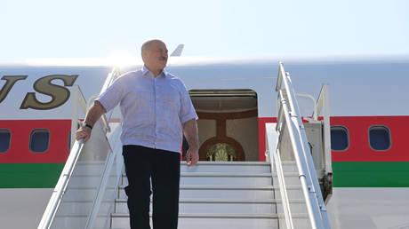 Belarusian President Alexander Lukashenko at an airport in Sochi, Russia September 14, 2020