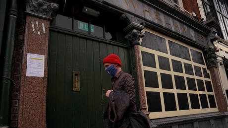 A shuttered pub, closed due to government coronavirus restrictions is seen in Dublin, Ireland on September 3, 2020.
