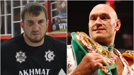 Apti Davtaev (left) has confirmed he will be Tyson Fury's sparring partner for his upcoming rematch versus Deontay Wilder - Instagram / Apti Davtaev; Reuters / STEVE MARCUS