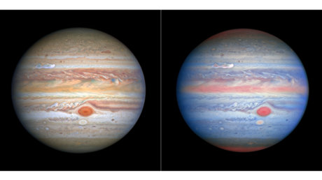 A standard and red-white-and-blue photos of Jupiter, taken August 25, 2020 by the Hubble Space Telescope