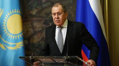 Foreign Minister Sergey Lavrov at a joint press conference with Kazakh foreign Minister Mukhtar Tleuberdi in Moscow after the talks.