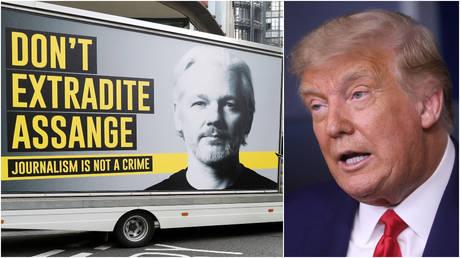 PHOTOS DE DOSSIER: (L) Des partisans de Julian Assange sont vus devant le tribunal d'Old Bailey avant une audience pour décider si Assange doit être extradé vers les États-Unis, à Londres, en Grande-Bretagne.  (R) Le président américain Donald Trump lors d'une conférence de presse à la Maison Blanche.