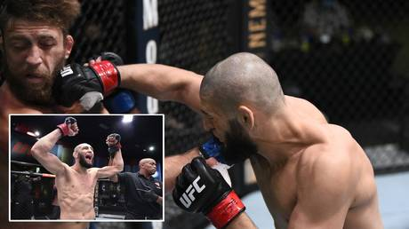 Khamzat Chimaev wasted no time picking up another UFC victory in Las Vegas. © Getty Images / Zuffa LLC