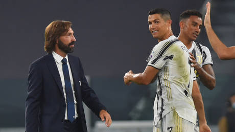 Cristiano Ronaldo and Juventus coach Andrea Pirlo celebrate the win against Sampdoria. © Reuters
