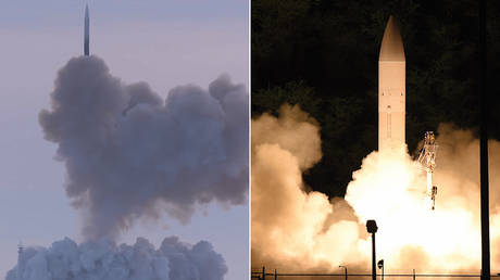(L) A test launch of the Avangard hypersonic glide vehicle; (R) A test launch of the common hypersonic glide body (C-HGB). © YouTube / RT / Russian Defense Ministry