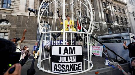 Vivienne Westwood demonstrates in support of Julian Assange, in London