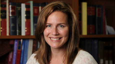 US Court of Appeals for the Seventh Circuit Judge Amy Coney Barrett, a law professor at Notre Dame University, poses in an undated photograph obtained from Notre Dame University September 19, 2020