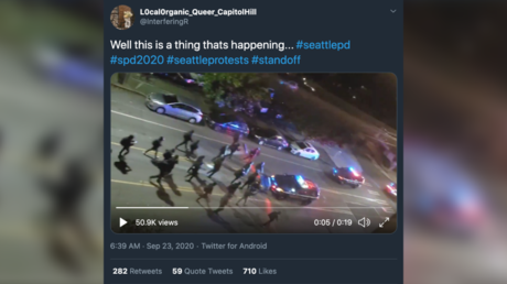 WATCH: 'Antifa' in 'anarchist jurisdiction' Seattle stare down police, force cops to retreat