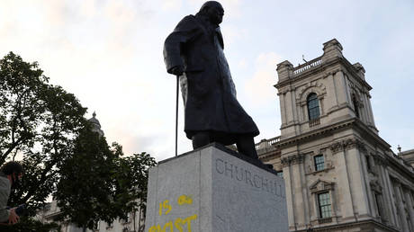 Graffiti is seen on the statue of Winston Churchill, in London, Britain September 10, 2020.