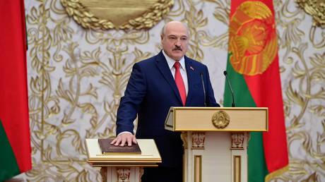 FILE PHOTO: Alexander Lukashenko takes the oath of office as Belarusian President during a swearing-in ceremony in Minsk, Belarus September 23, 2020.