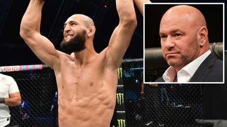 Main event spot: UFC president Dana White (inset) confirmed Khamzat Chimaev's announcement