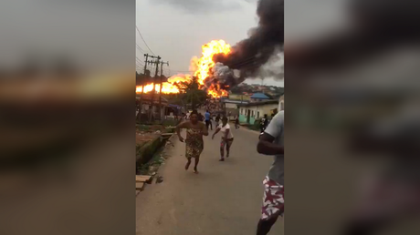 Scores injured after MASSIVE gas tanker explosion on outskirts of Lagos, Nigeria (VIDEOS) - rt