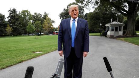 US President Donald Trump talks to reporters, September 24, 2020.