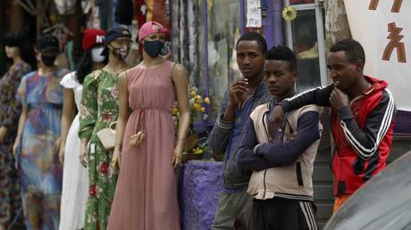 Mannequins with mask are placed in front of a shop to draw attention to the importance of the mask against the coronavirus (COVID-19) pandemic in Addis Ababa, Ethiopia on September 25, 2020
