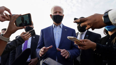 US Democratic presidential candidate Joe Biden speaks to reporters upon his departure after campaigning in Charlotte, North Carolina, U.S., September 23, 2020