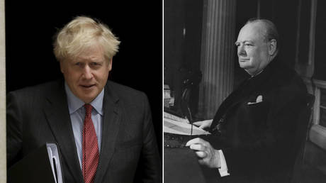 (L) Boris Johnson © AP Photo/Matt Dunham; (R) Winston Churchill © Getty Images/Keystone