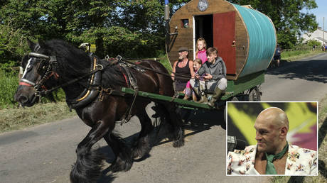 FILE PHOTO: A traditional bow top caravan is driven to the campsite on the first day of the Appleby Horse Fair on June 7, 2018 in Appleby, England © Getty Images/Ian Forsyth; (inset) Tyson Fury © PA Images via Getty Images/Bradley Collyer