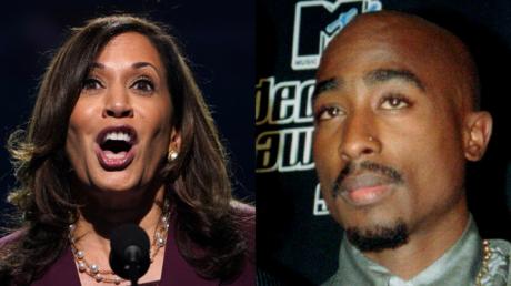 Kamala Harris and Tupac Shakur © Reuters / Kevin Lamarqe and Mike Segar