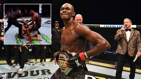 Israel Adesanya defeated Paulo Costa in their UFC 253 main event. © Getty Images / Zuffa LLC / Screenshot Twitter @Yhoppah