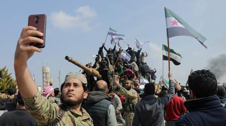 A Turkey-backed militant in Idlib, Syria