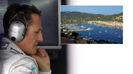 Michael Schumacher pictured in 2012 and the port of Andratx in Mallorca. © Reuters / Getty Images
