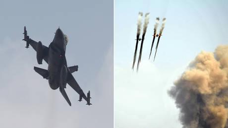 FILE PHOTO: (L) Turkish F-16 © REUTERS/Murad Sezer; (R) Armenian army Sukhoi Su-25 © AFP PHOTO/KAREN MINASYAN