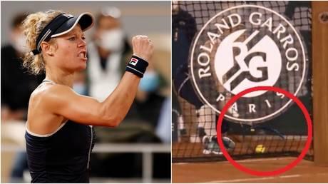 Laura Siegemund celebrates during her controversial first round match against Kristina Mladenovic. © Reuters / Twitter