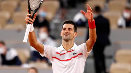 Novak Djokovic celebrates his first-round win in Paris. © Reuters