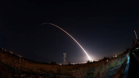 FILE PHOTO: An unarmed Minuteman III intercontinental ballistic missile launches from Vandenberg Air Force Base, California, United States during an operational test at 12:03 a.m., PDT, April 26, 2017