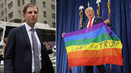 (L) Eric Trump © Getty Images/Spencer Platt;  (R) Donald Trump holds an LGBT rainbow flag given to him by supporter Max Nowak during a campaign rally at the Bank of Colorado Arena © Getty Images/Chip Somodevilla