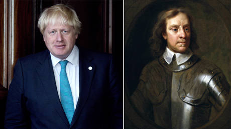 (L)  Boris Johnson © Getty Images/Justin Tallis - WPA Pool; (R) Oliver Cromwell after Samuel Cooper 1656. Oil on canvas, feigned oval, 29 3/4 in. x 24 3/4 inches. Located in the National Portrait Gallery, London, England, UK. © Corbis via Getty Images/Photo by VCG Wilson