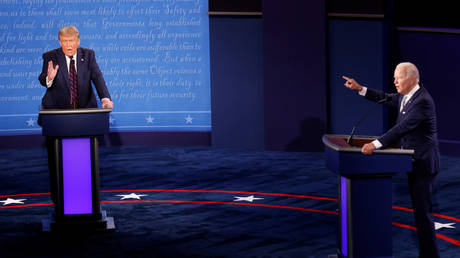 US President Donald Trump and Democratic presidential nominee Joe Biden debate in Cleveland, Ohio, September 29, 2020.