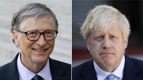 (L) Bill Gates © Getty Images/Chesnot; (R) Boris Johnson © Getty Images/Chesnot.