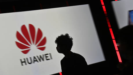 Huawei's logo at a trade show in Berlin. September 3, 2020. © AFP / Tobias Schwarz