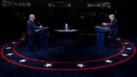 US President Donald Trump and Democratic presidential nominee Joe Biden participate in the first 2020 presidential campaign debate held on the campus of the Cleveland Clinic at Case Western Reserve University in Cleveland, Ohio, U.S., September 29, 2020