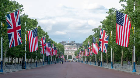 British and American flags line Pall Mall leading to Buckingham Palace. June 3, 2019 in London, England