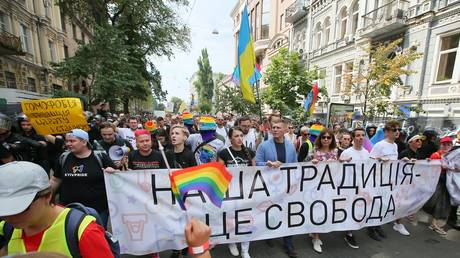 FILE PHOTO: Participants of the LGBT parade in Kiev.