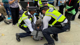 Extinction Rebellion activists glue themselves to street outside UK parliament as part of 10-day 'disruption'